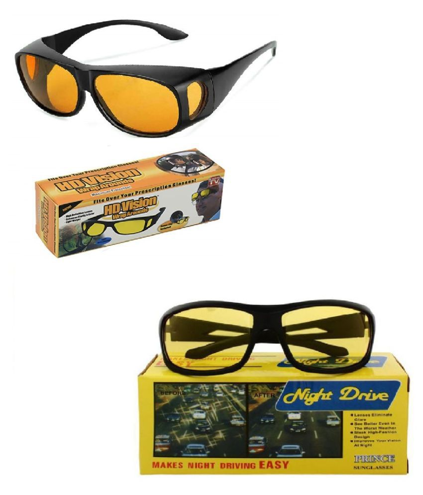 HD Wrap Around Day and Night Vision Goggles Anti-Glare Polarized Unisex Sunglasses (Yellow) Pack of 2