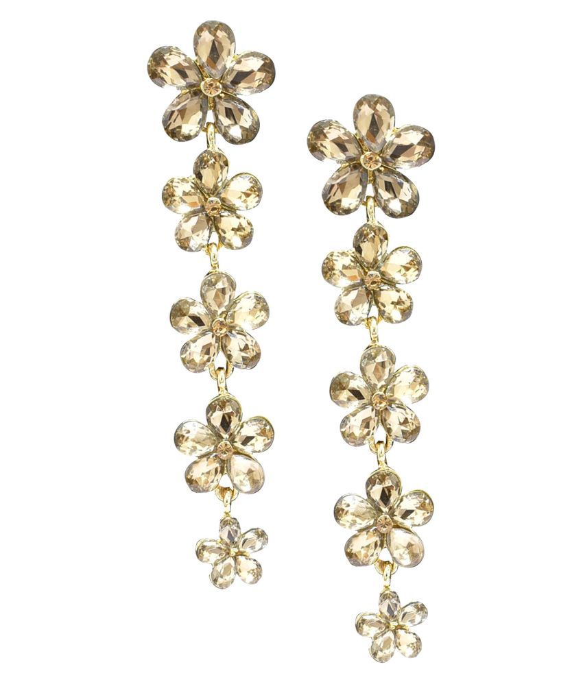 Jaishree Jewels Floral Golden Glass Earings for Women and Girls