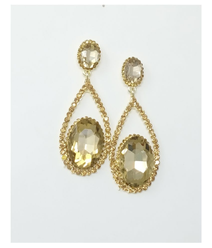 Jaishree Jewels Golden Crystal Dangler Earrings for Women and Girls