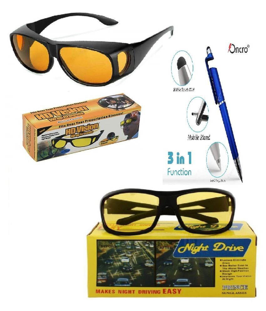 Men Night Vision Driving Anti Glare Eyeglasses & HD Vision Wrap Arounds Glasses (yellow) With 3 in 1 pen Pack of 2