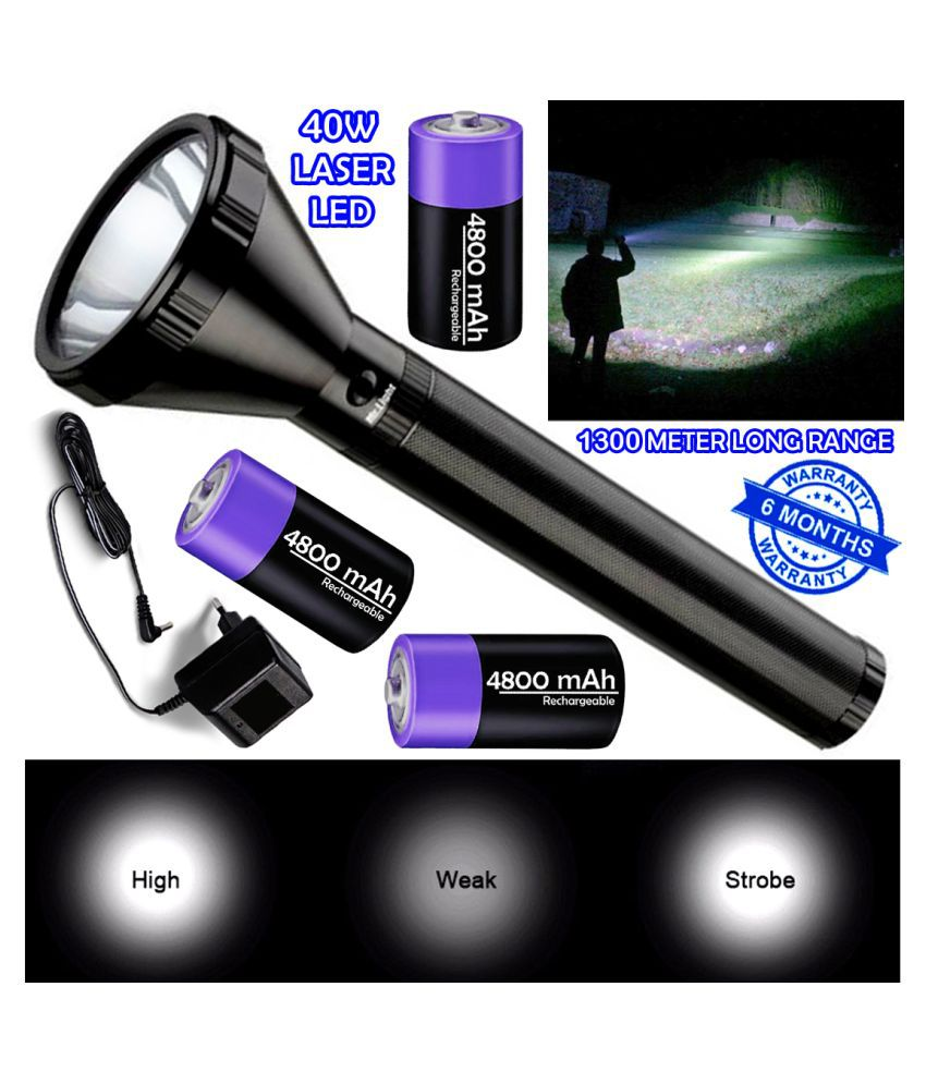 DGM 1300 Meter Long Range 3 Mode Rechargeable High Power Waterproof Metal 40W Flashlight Torch 14400 mAh Battery - Pack of 1