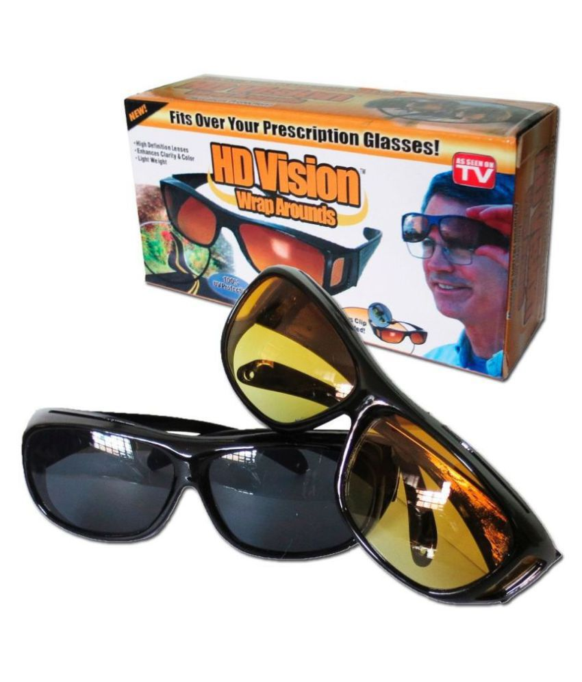 HD Wrap Around  & Night Vision Sunglasses for UV Protection, car Bike Motorcycle Night Driving, Night HD Vision (yellow & Black)  Combo Pack