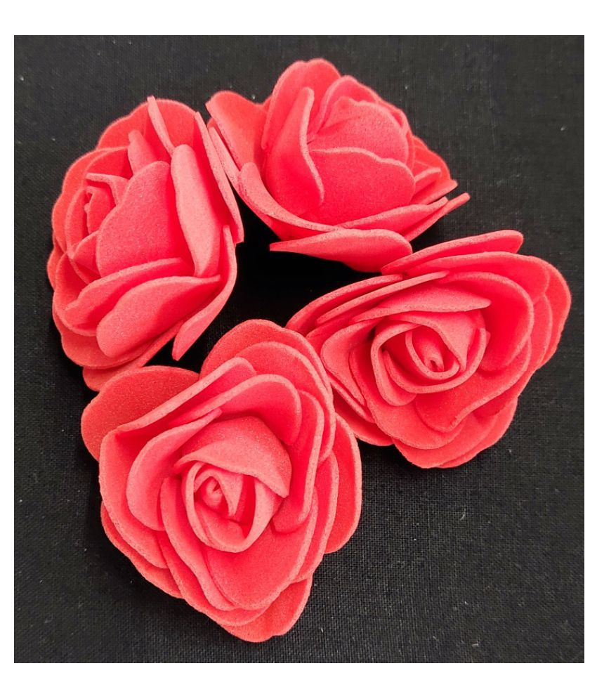 24Pcs Red Color Rose Foam Artificial Flower For Craft & Party Decoration