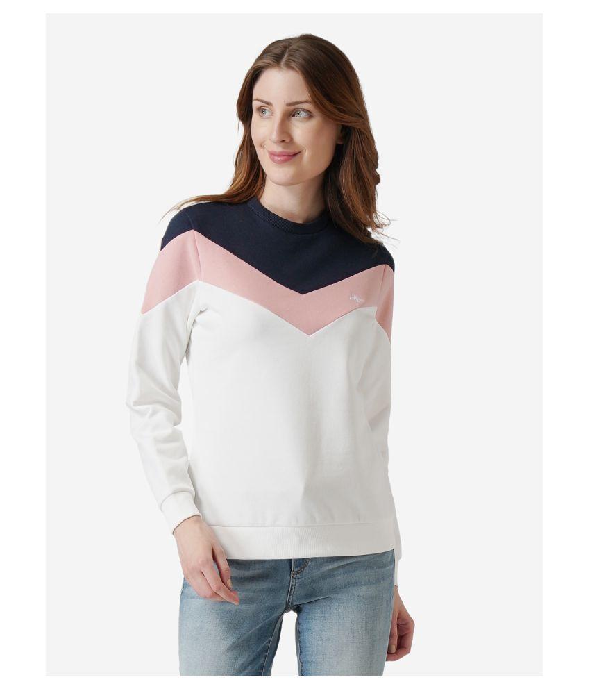Mode By Red Tape Cotton - Fleece Blue Non Zippered Sweatshirt