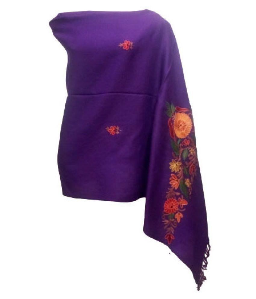shah art gallery Purple Floral Wool Stoles