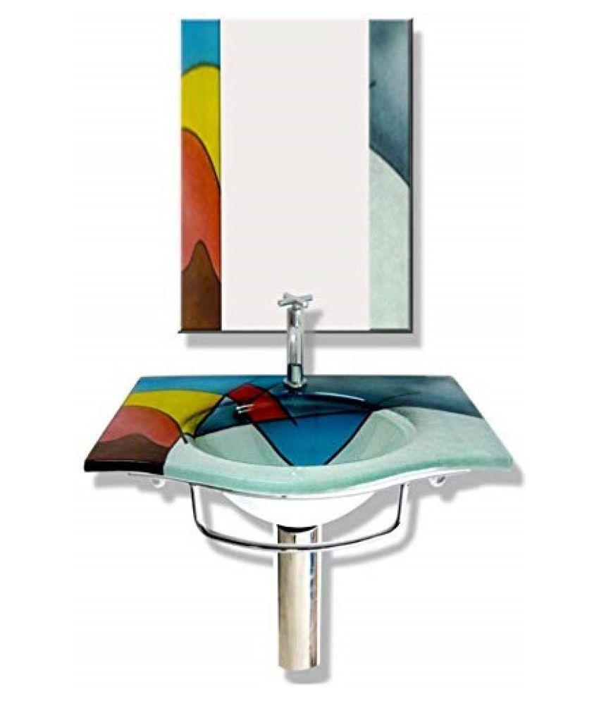 ARANAUT Multi-Colour Toughened Glass Wall Hung Wash Basins