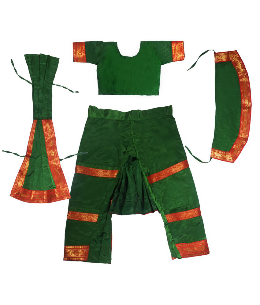 Fancy Dressup Green Bharatnatyam dress for 4 to 6 year girls