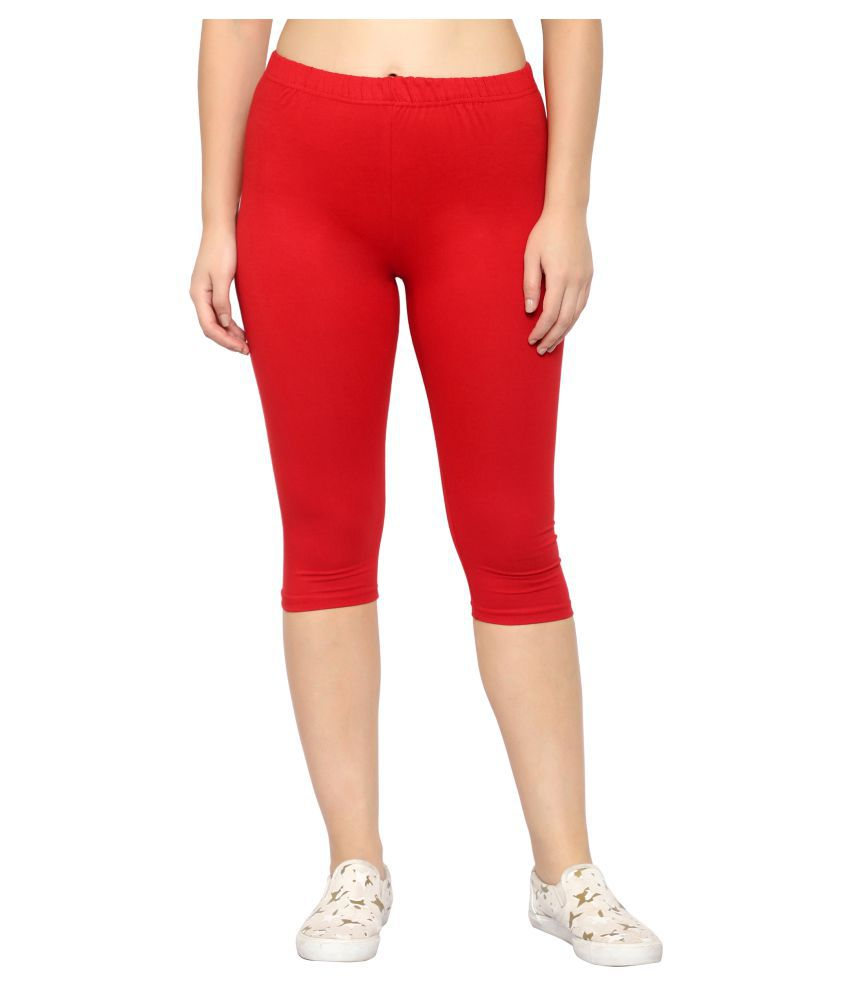 Myo Red Cotton Lycra Solid Capri