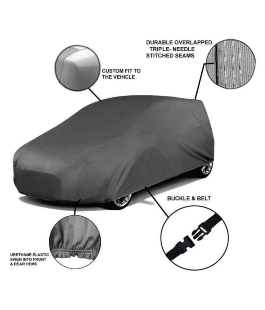Soami Grey Matty Dust Proof Car Body Cover for Renault Kwid with Out Mirror Pockets Triple Stitching & Light Weight (Grey Color) Model 2015-16