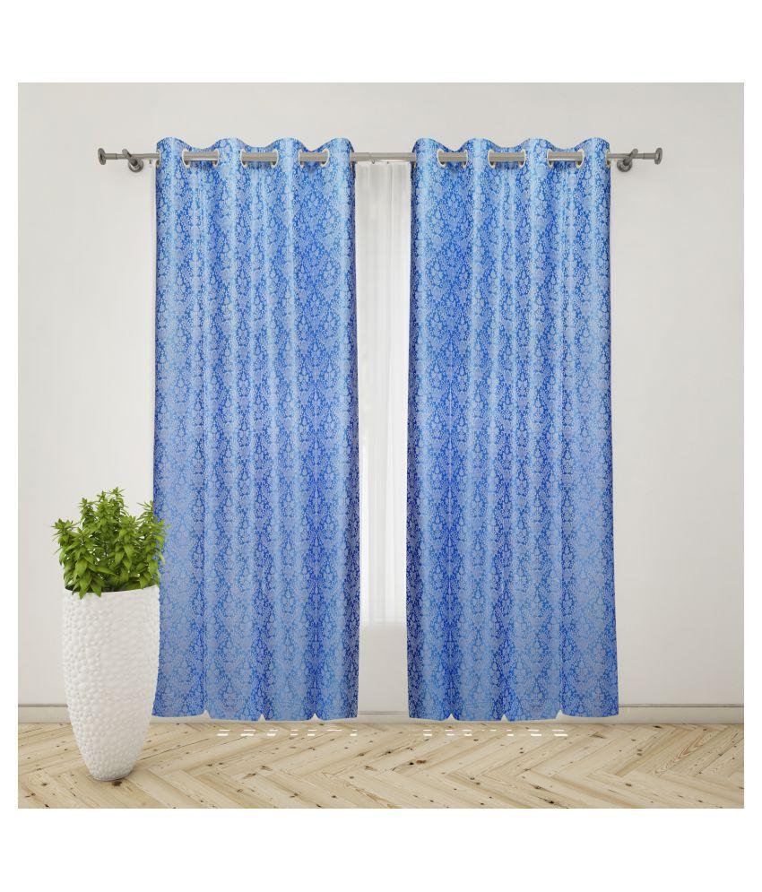 gold decor Single Door Semi-Transparent Eyelet Polyester Curtains Blue