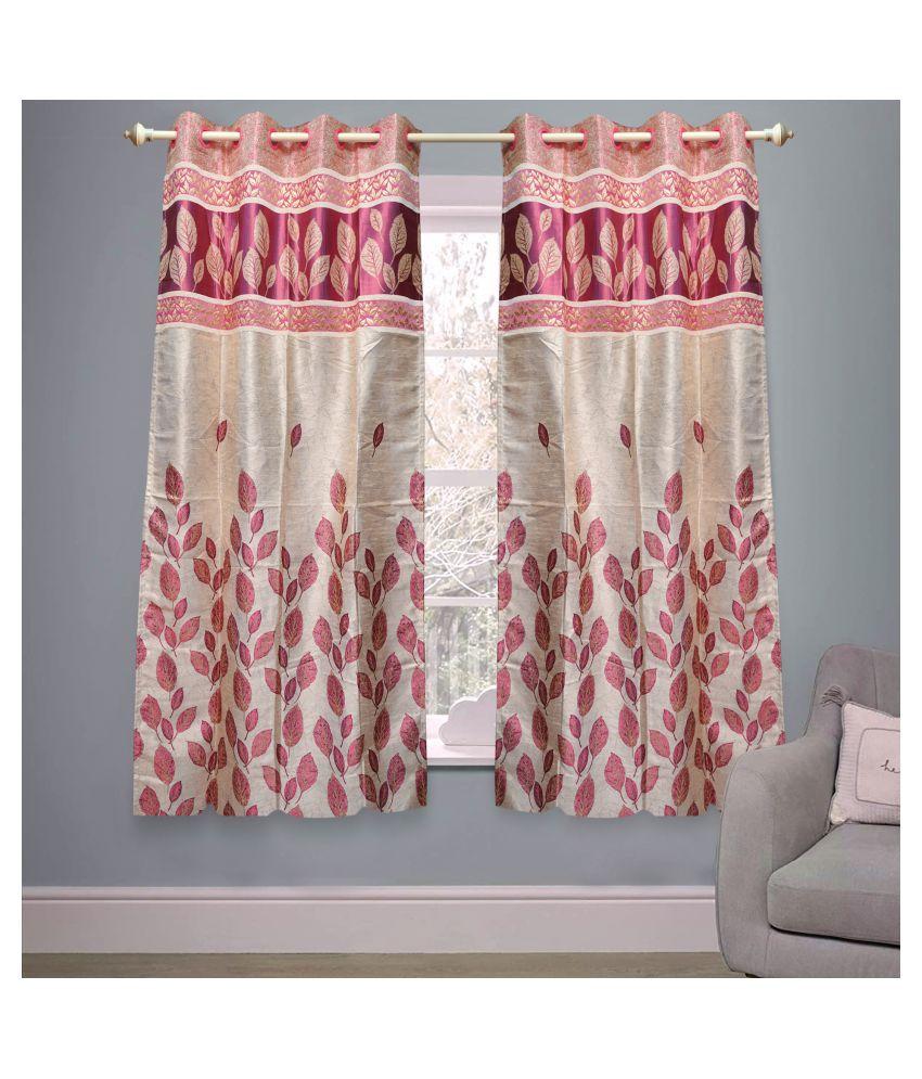 gold decor Single Window Semi-Transparent Eyelet Polyester Curtains Pink