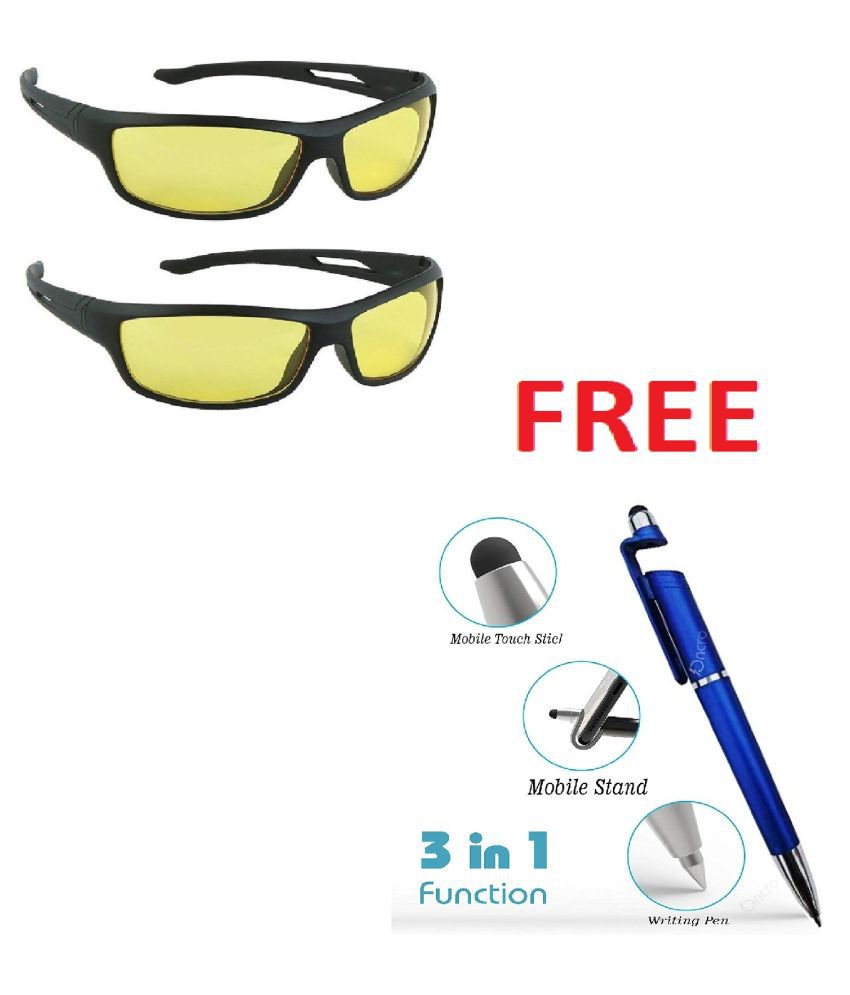 Arounds Day  Night Goggles Sunglasses Men/Women Driving Glasses Sun Glasses ( Yellow )With Free 3 in 1 pen Set of 2