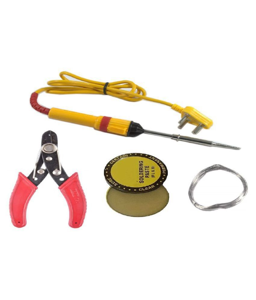(4 in 1) High Quality 25W Soldering Kit including Soldering Iron, Soldering Wire, Flux and Cutter