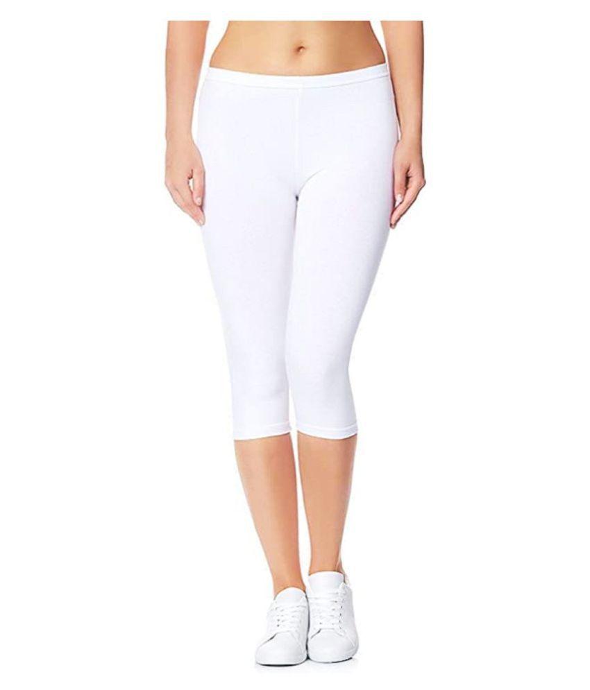 shri hub White Cotton Solid Capri