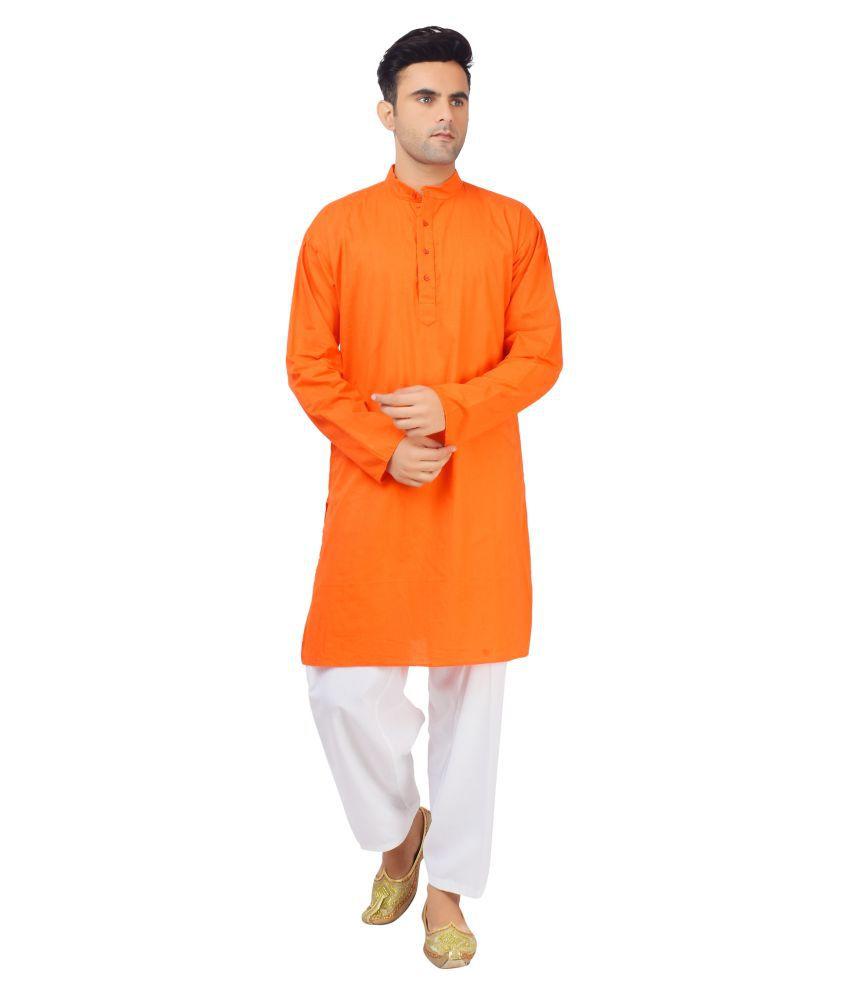 v oll Orange Cotton Kurta Pyjama Set