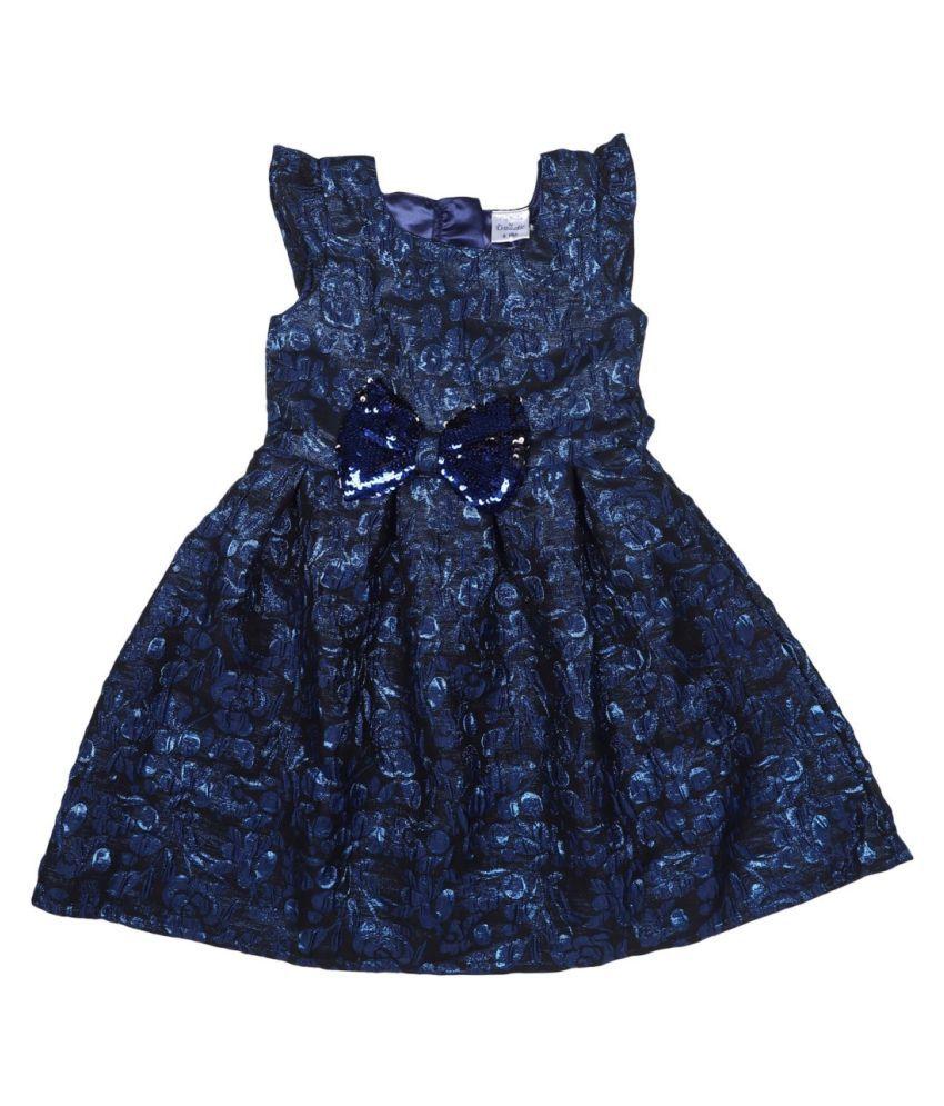 Doodle Jacquard Material Blue Floral Printed Cap Sleeve Dress