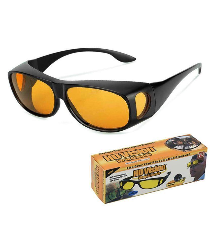 HD Wrap Arounds Day & Night HD Vision Goggles Sunglasses Men/Women Driving Glasses Sun Glasses (Yellow )