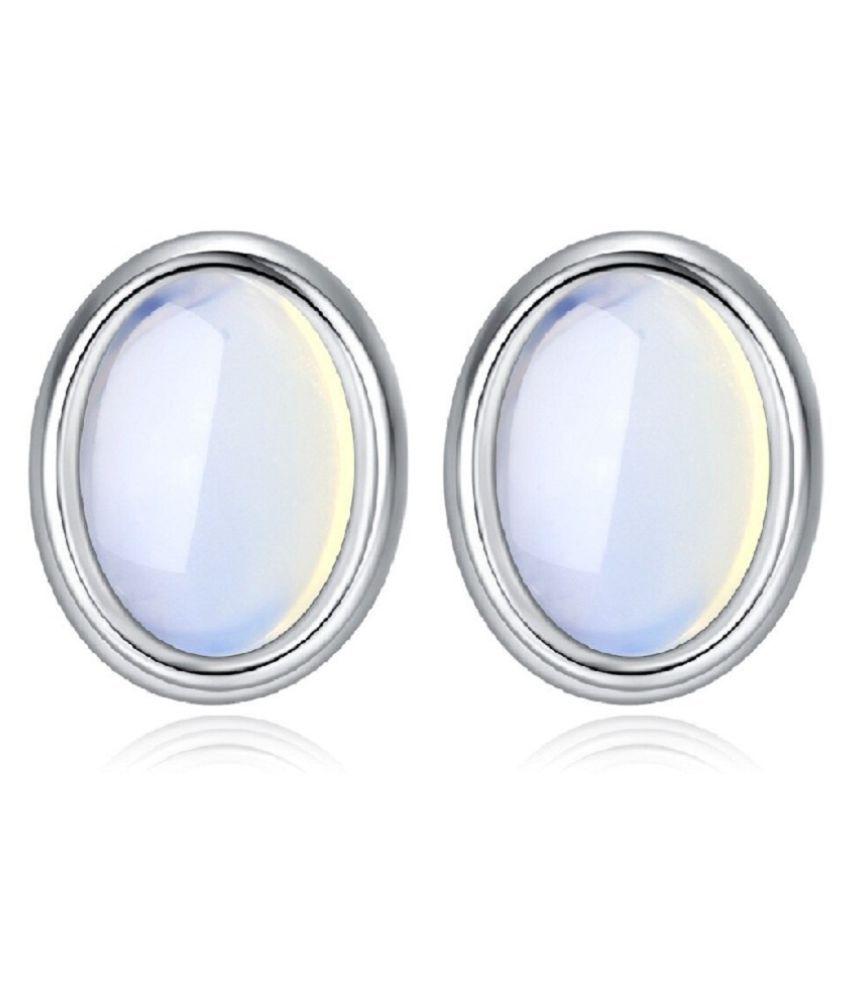 KUNDLI GEMS- Natural Moonstone stud Silver Earring For Women & Girls