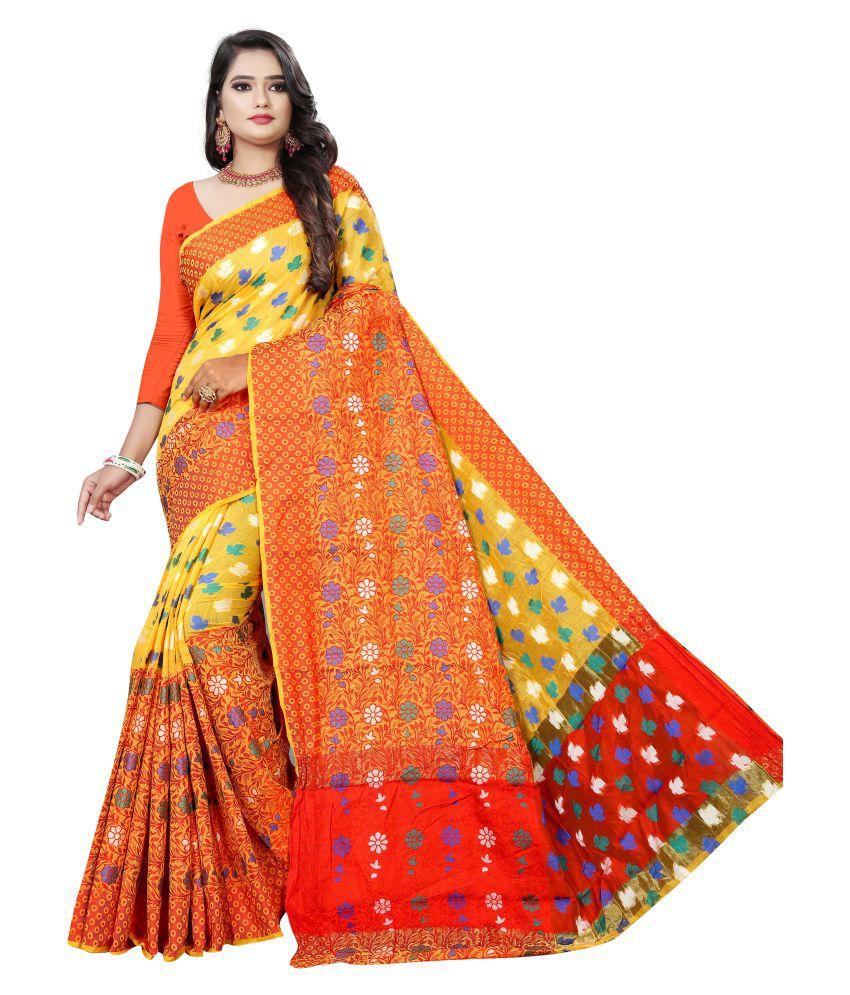 Pretty MMME Yellow Chanderi Saree