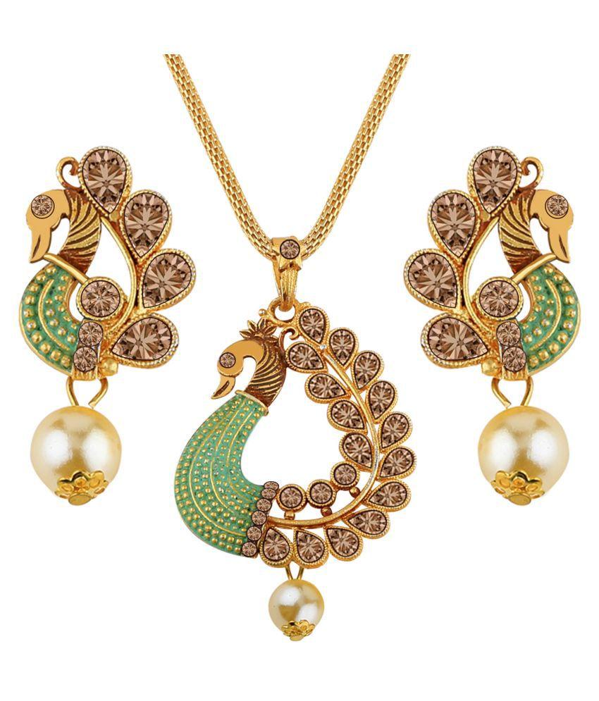 SILVERSHINE Amazing gold Plated Peacock Designer Pendant For Women Girl