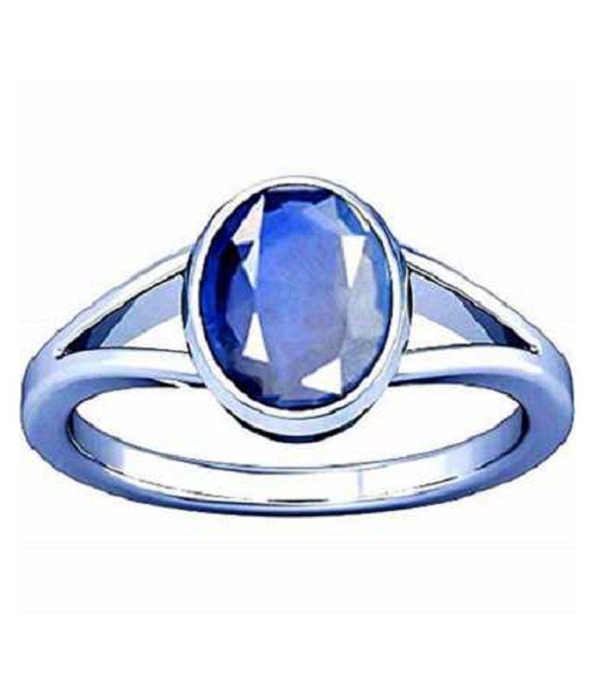 KUNDLI GEMS- Certified Blue Sapphire Neelam 5.25 Carat or 5.84 ratti Panchdhatu Silver Astrological Ring for Men & Women