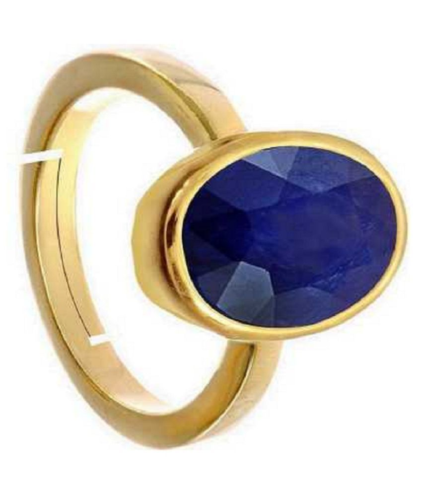 KUNDLI GEMS- Precious Stone Blue Sapphire  Gold Plated Ring Lab Certified  & Effective Stone Neelam Ring For astrological Purpose