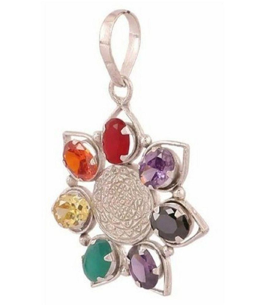 Ratan Bazaar - Sterling Silver Natural Certified Navratna Stone Nine Planets Pendant Locket for Men and Women