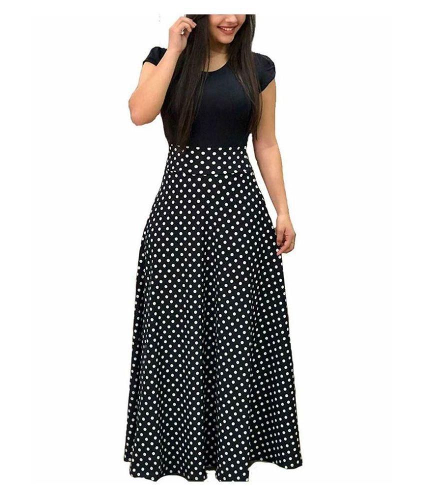 rekha ethnic center Crepe Black A- line Dress