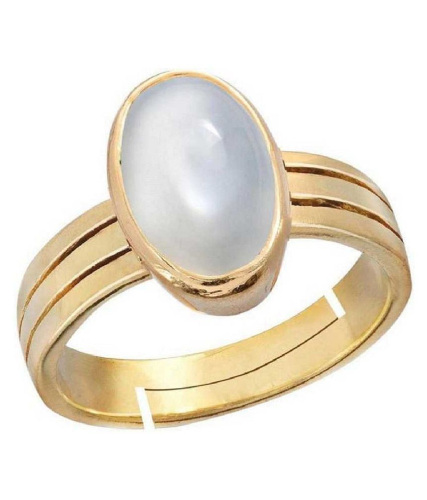 MOONSTONE Panchdhatu ADJUSTABLE 3 Carat  gold plated Ring By Ratan Bazaar
