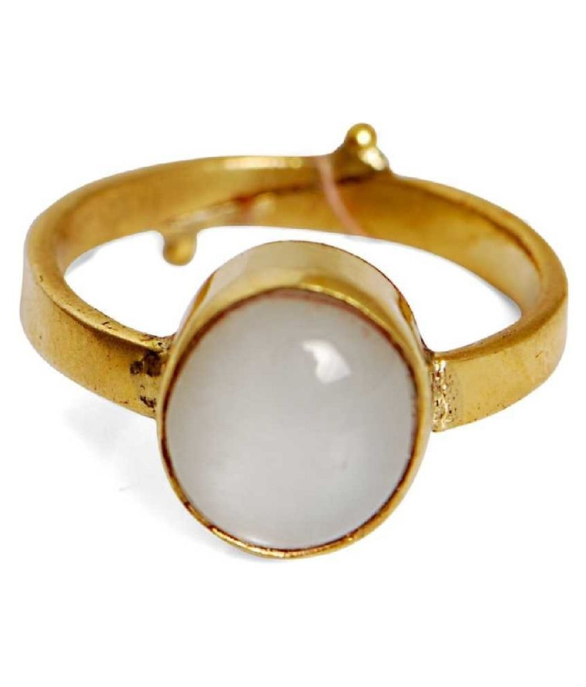 MOONSTONE Ring Stone 4 Ratti Gold plated RING Natural Stone By Ratan Bazaar