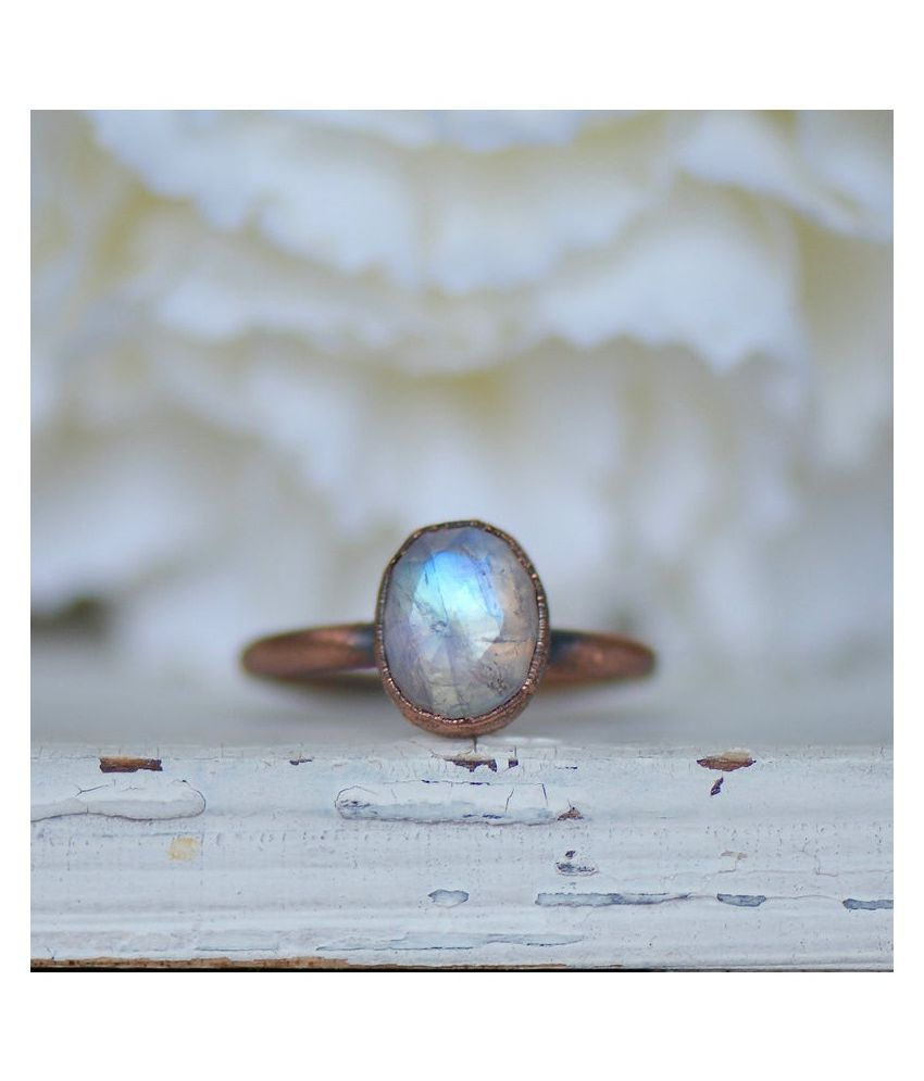 MOONSTONE Ring in 2.5 carat  Gold Plated by  Ratan Bazaar