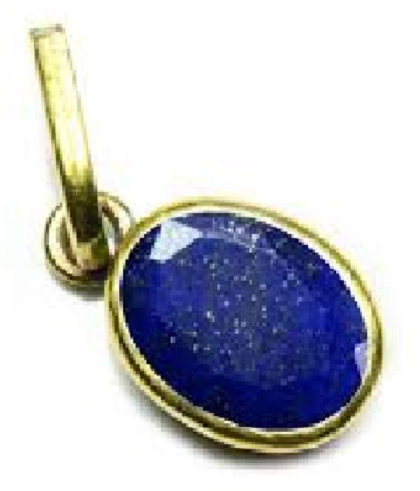 100 % Original Certified Stone 3.5 Carat Lapis lazuli gold plated Pendant By Kundli Gems