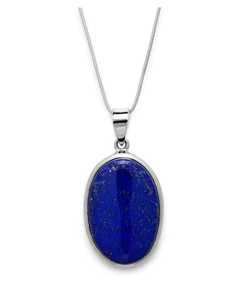 4.25 Carat A+ Quality lapis lazuli Gemstone silver plated Pendantby Kundli Gems