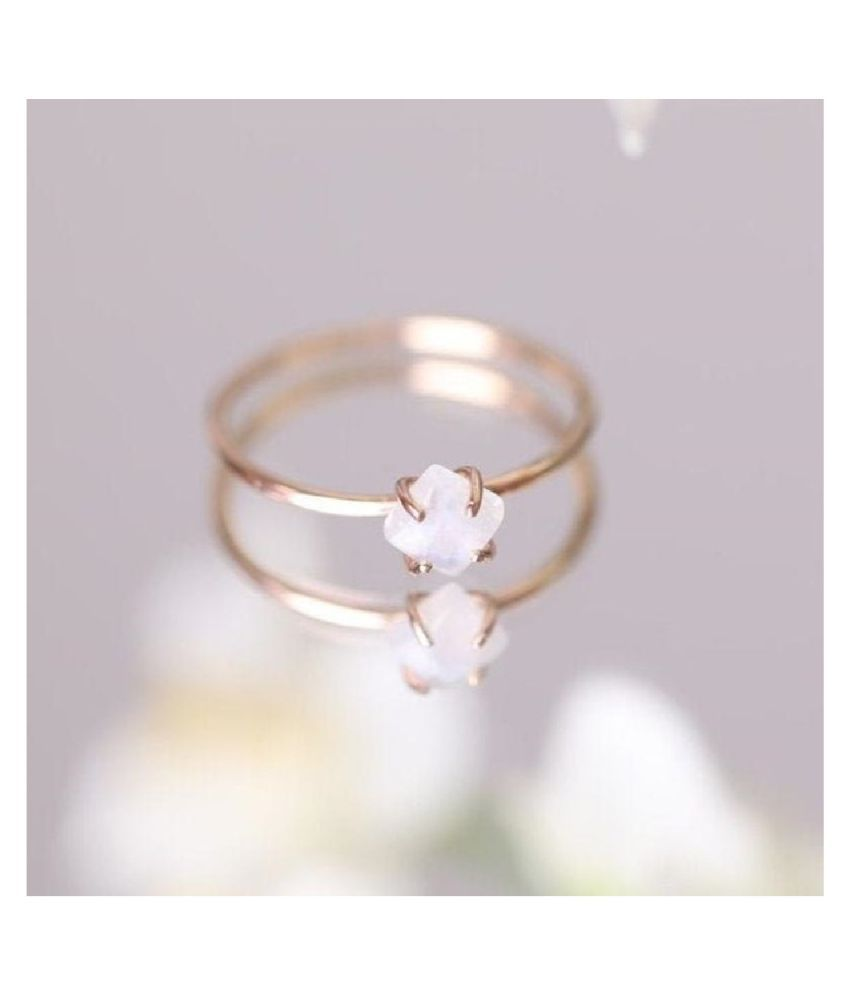 5 ratti Natural MOONSTONE  Stone Unheated Lab Certified pure Gold Plated Ring by Ratan Bazaar\n