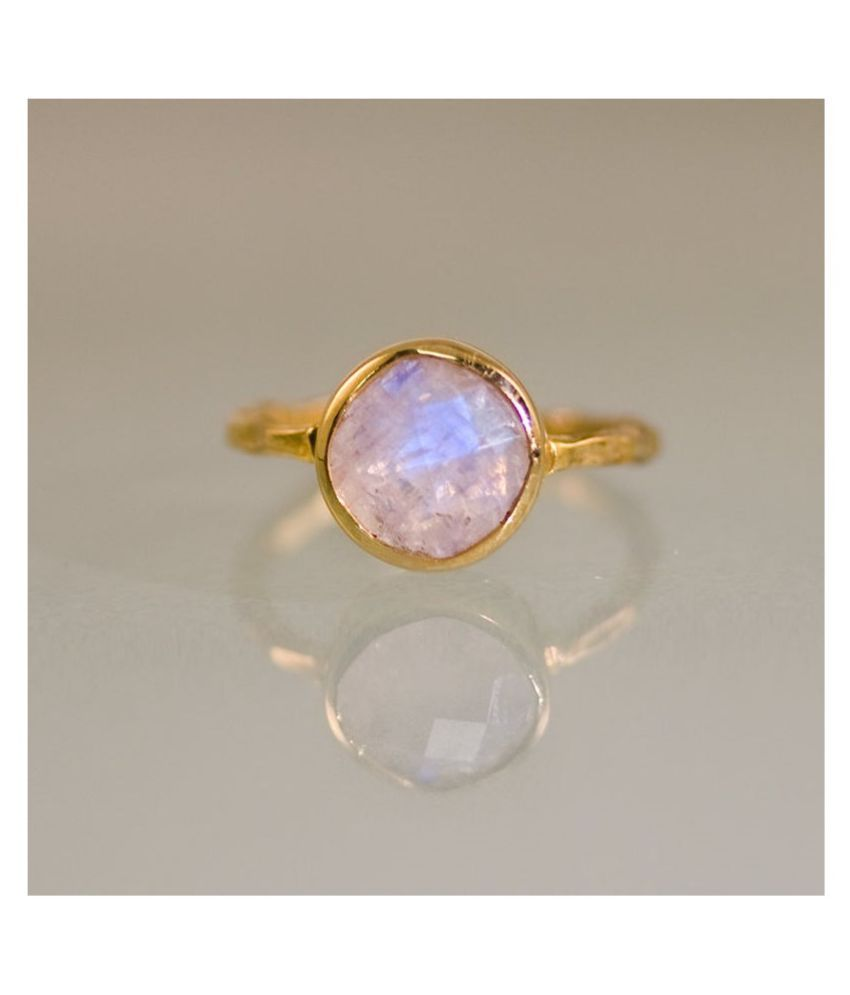 7.5 Ratti MOONSTONE Gold Plated Ring With Certified Astrological Stone by Ratan Bazaar
