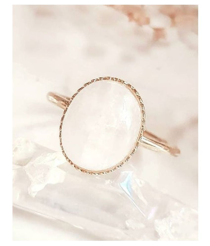 7.5 carat only MOONSTONE  Ring with Natural & Lab Certified Gold Plated MOONSTONE  by Ratan Bazaar