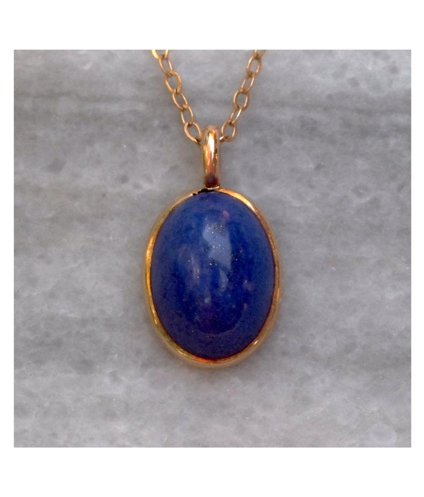 Certified Lapis lazuli 6 Carat Astrological Stone gold plated Pendant By Kundli Gems