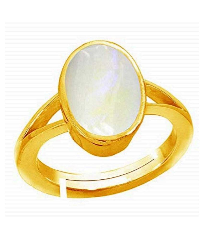 Natural MOONSTONE Gemstone Stone 8.25 Carat gold plated Ring by  Ratan Bazaar