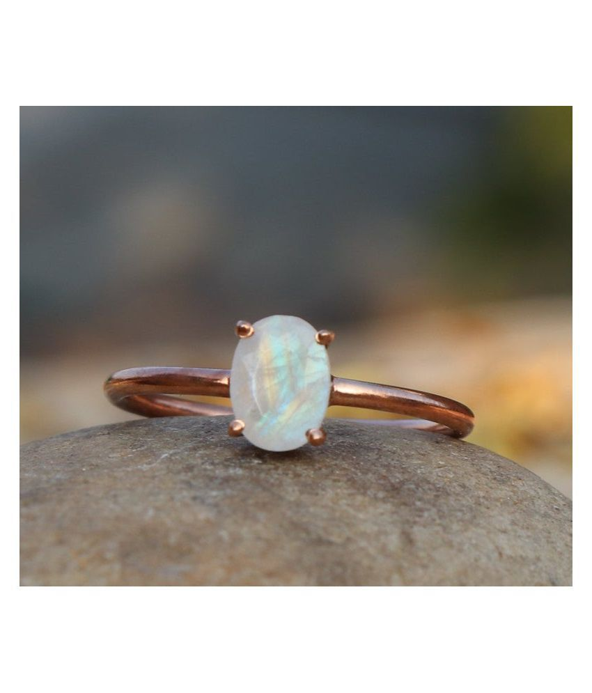 Ring 8.5 ratti Natural MOONSTONE Gold Plated Ring by Ratan Bazaar