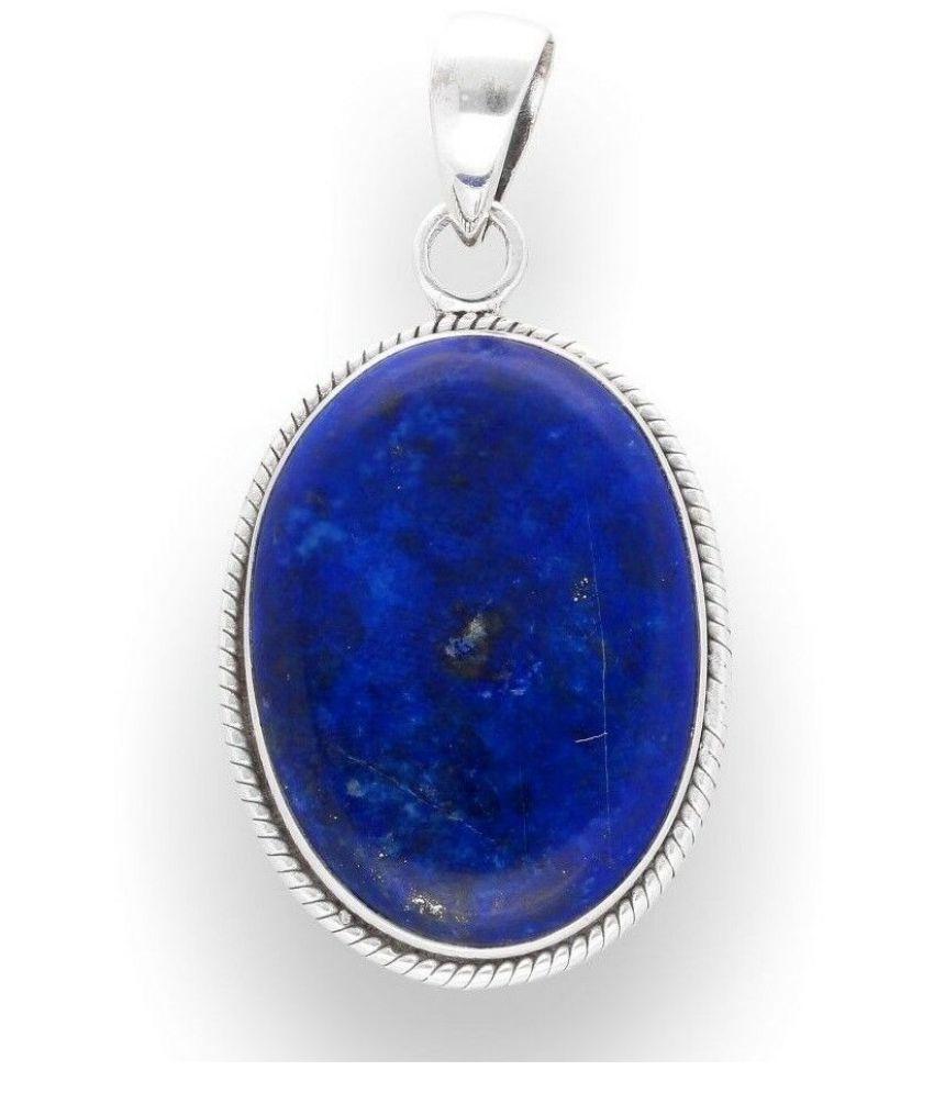 8.5 ratti silver plated  lapis lazuli  Pendantfor unisex by Kundli Gems\n