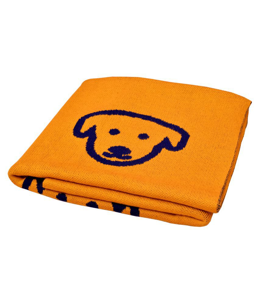 KOKIWOOWOO Premium Soft and Cozy Finely Knitted Dog Blanket Big Woolen Blanket Dog,Cat Blanket Yellow (40x50) Inch