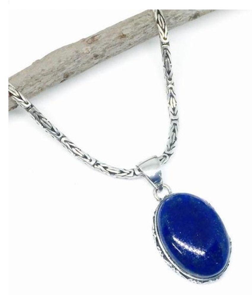12.25 ratti Natural lapis lazuli  Stone Unheated Lab Certified silver Pendant by Kundli Gems\n