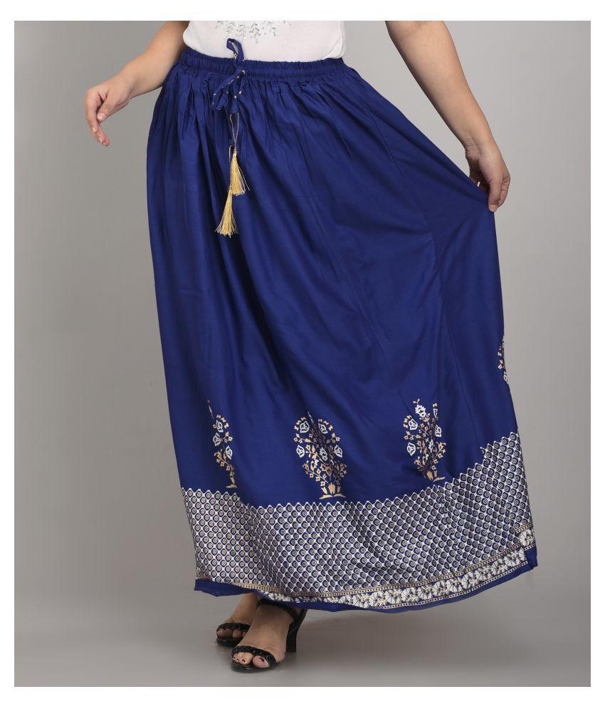 Girly Girls Rayon A-Line Skirt - Blue