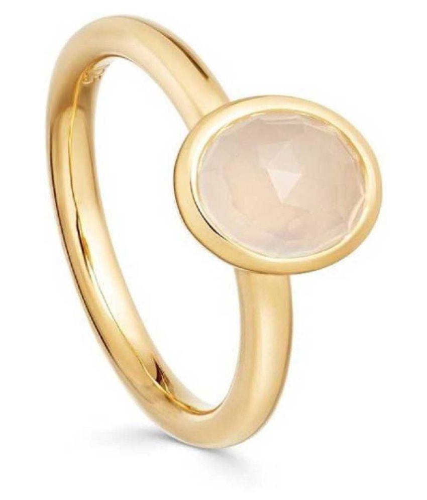 MOONSTONE Ring 12 Carat natural Stone gold plated Ring by Ratan Bazaar