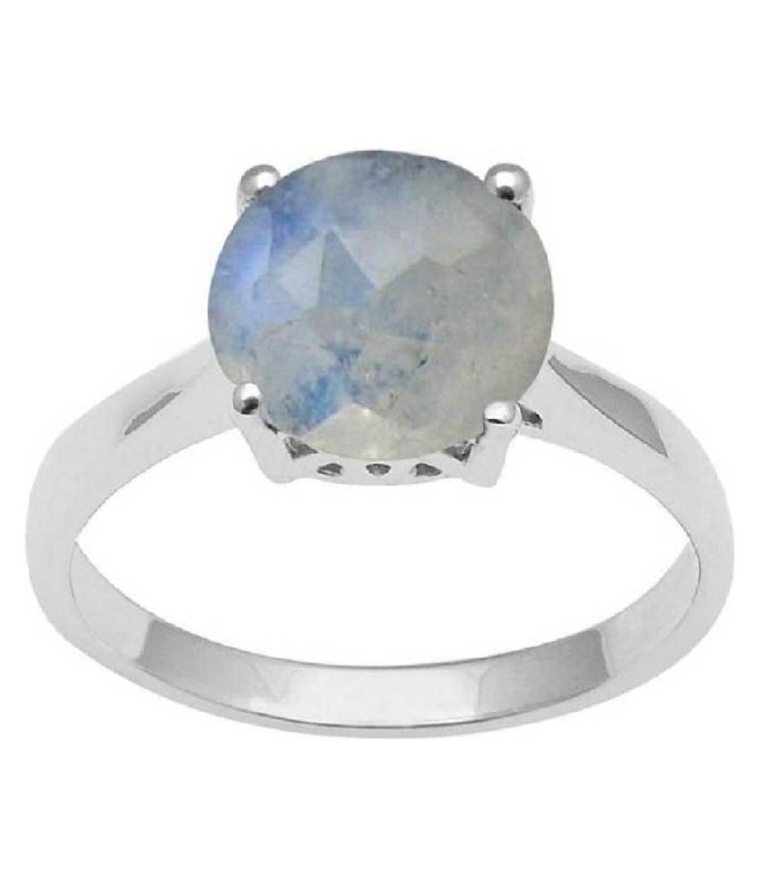 6.25 ratti Natural MOONSTONE  Stone Unheated Lab Certified silver Ring by Kundli Gems\n