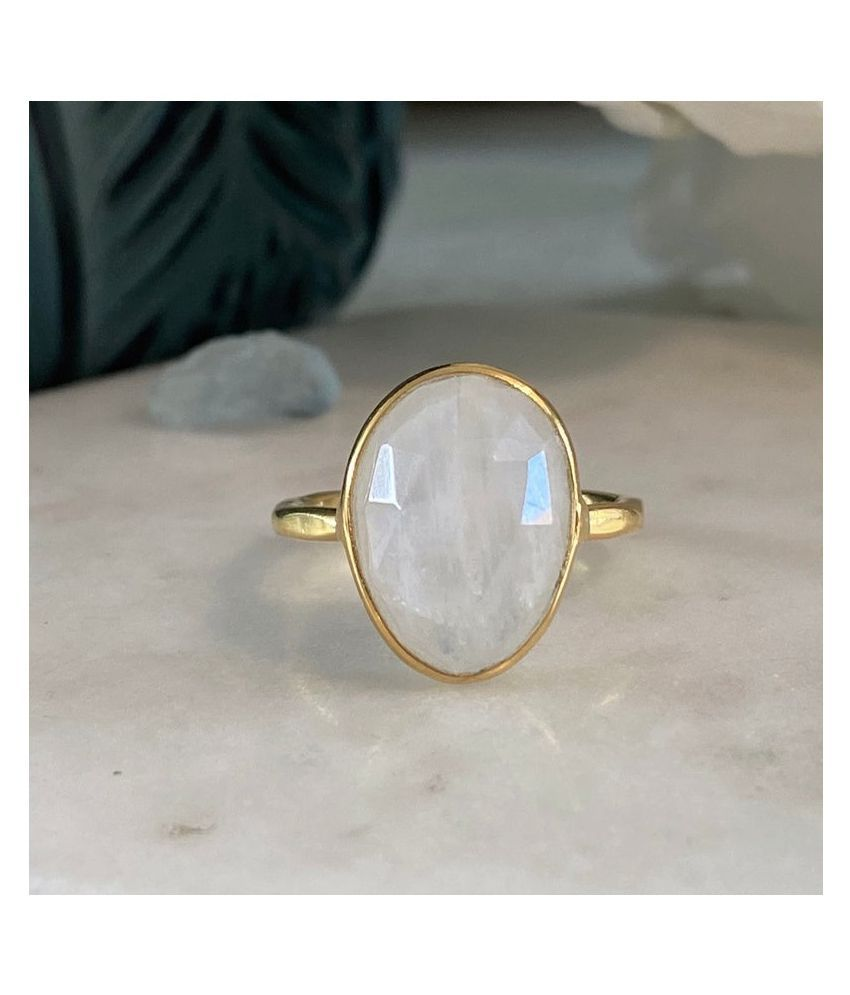 6.5 Carat Natural Stone Gold Plated MOONSTONE  Ring for unisex by Kundli Gems\n