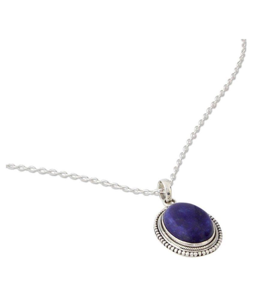 6 RATTI  silver plated Pendantlapis lazuli Pendant for unisex by  Ratan Bazaar\n