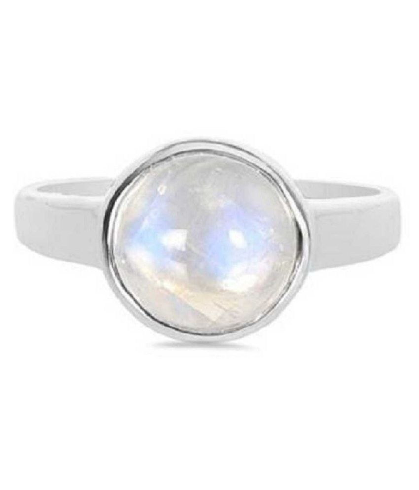 7 ratti Stone 100% Natural MOONSTONE  Silver Ring by  Kundli Gems\n