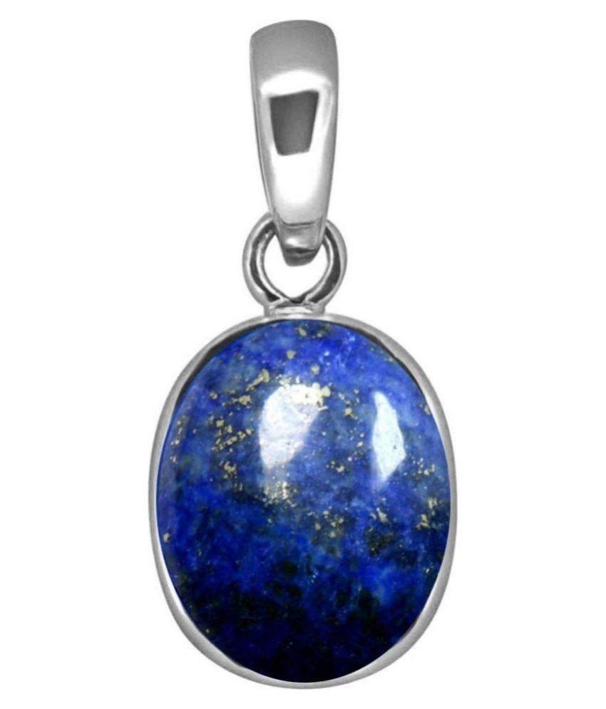 8.5 Ratti blue Silver lapis lazuli BLUE Stone Pendant by   Ratan Bazaar