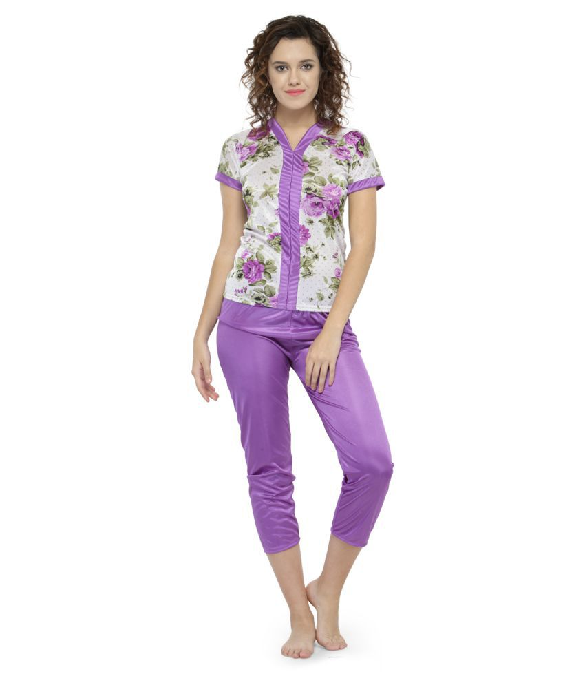 Avenew Fashions Satin Nightsuit Sets - Purple